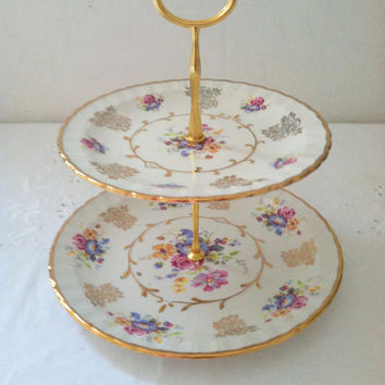 Downton Abbey Inspired 2 Tiered High Tea Ethereal Elegance Stand by Avon Wood & Sons Alphine White Ironstone Burslem England