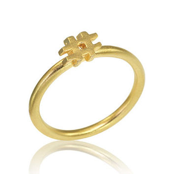 Hashtag 14K Ring, Hashtag Gold Ring, Fast Free Shipping