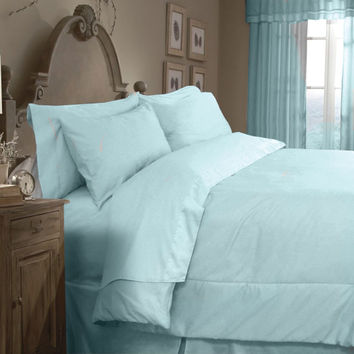 Veratex Home Indoor Bedroom Supreme Sateen 300 Solid Comforter Set Queen Blue