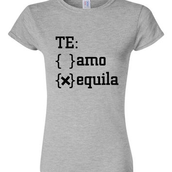 Top Seller! TE Amo or Quila Funny Workout ladies Tequila lovers Tshirt Ladies Tequila shirt