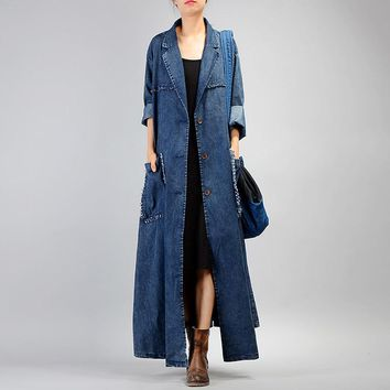 Denim Style Ripper Ankle Long Trench Coat  Loose Women's Windbreaker Autumn Big Pocket Overcoats Casual Clothes