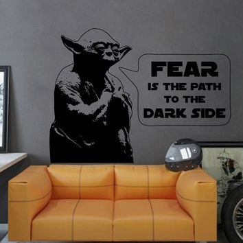 ik2277 Wall Decal Sticker Jedi master Yoda instruction fear dark side Star Wars hall bedroom