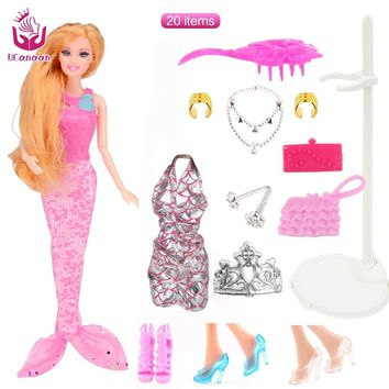 UCanaan Mermaid Dolls with 20 Accessories NEW Fashion Toys Doll Toy Long Thick Hair Joint Body Christmas Gift for Girl diy doll