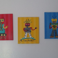 Boys Robot Art Set on Canvas, Set of 3 8x10 ORIGINAL PAINTINGS