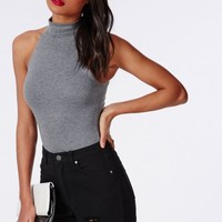 Missguided - High Neck Racer Bodysuit Grey