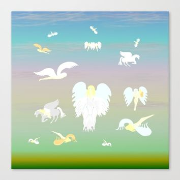 Angels Amongst The Clouds Canvas Print by Kat Worth