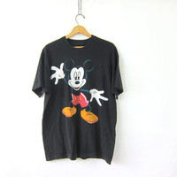 Vintage Mickey Mouse T-Shirt. Oversized Mickey Tee Shirt. faded black Mickey Shirt.