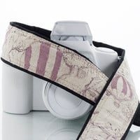 Camera Strap, Old World Map, Hot Air Balloon, Dusty Lilac, dSLR, Nautical, Pocket, Canon camera strap, Nikon camera strap, 225 a