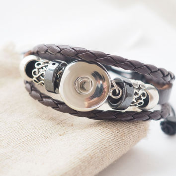 5pcs/lot  handmade black snap leather Bracelets Fit Snaps  Buttons 18mm with adjustable knot giger snap jewelry