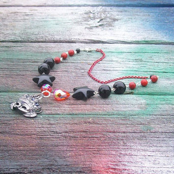 Elaborate Dark Silver Crown Mask Beaded Necklace Red and Black Mardi Gras Masquerade