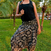 Thai Harem Pants in Cotton, Black & White Circular  Flower Print (S-XL) one size fits all