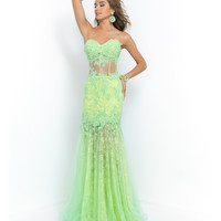 Honeydew Green Strapless Beaded Lace Sheer Illusion Corset Dress