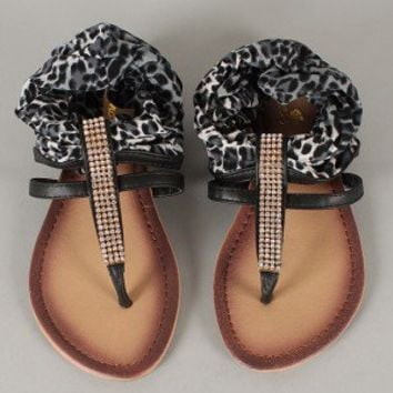 Lion-18 Leopard Jeweled T-Strap Flat Sandal