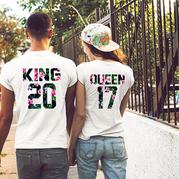 King Queen shirts, King and Queen couple shirts, custom numbers king queen shirts, anniversary gift ideas, couple shirts king queen