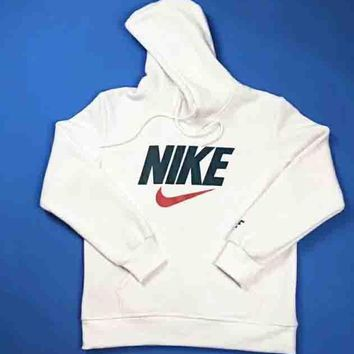 NIKE New fashion bust letter hook print thick keep warm hooded couple long sleeve sweater White