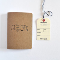 Small Kraft Travel Journal, Travel Notebook with Vintage Airstream Illustration