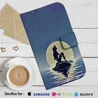Disney Ariel The Little Mermaid With Moon Leather Wallet iPhone 4/4S 5S/C 6/6S Plus 7  Samsung Galaxy S4 S5 S6 S7 NOTE 3 4 5  LG G2 G3 G4  MOTOROLA MOTO X X2 NEXUS 6  SONY Z3 Z4 MINI  HTC ONE X M7 M8 M9 CASE