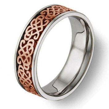Celtic Heart Knot Wedding Band 14K Two Tone Gold