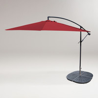 10' Red Cantilever Umbrella and Weight Base - World Market