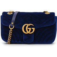 GUCCI Hot Selling Lady's Rippled Velvet Single Shoulder Bag Shopping Bag Sapphire Blue
