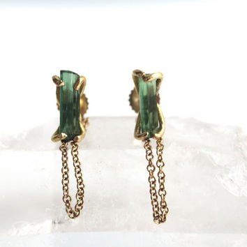 Solid 14 Karat Yellow Gold Raw Green Tourmaline Bar Chained Stud Earrings