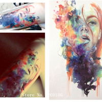 NEW ARRIVAL 21 X 15 CM Colorful Girl Temporary Tattoo Stickers Temporary Body Art Waterproof#93