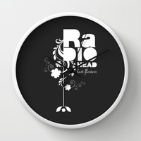 Radiohead song - Last flowers illustration white Wall Clock by LilaVert | Society6