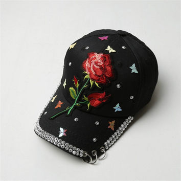 High Quality New Floral Embroidery Women Baseball Caps chapeau femme Hip Hop Hat Iron Rings Vogue Summer ladies Hats Adjustable