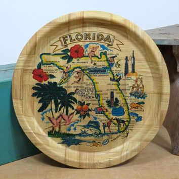Kitschy Florida Souvenir Bamboo Tray 1960s * Colorful Florida Map Serving Tray * Vintage Road Trip * Mid Century