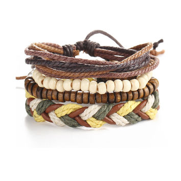 Streetstyle  Casual Beads Leather Weave Bracelet