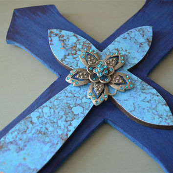Blue on Blue Handmade Wooden Layered Cross Wall Hanging Cross Plaque Decorative Cross Decor