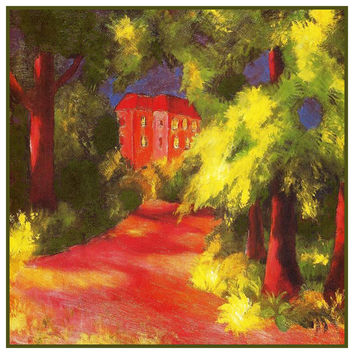 Red House in the Park Landscape by Expressionist Artist August Macke Counted Cross Stitch or Counted Needlepoint Pattern