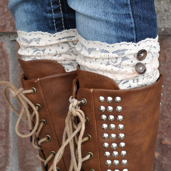 Lace Boot Cuffs - Faux Lace Boot Socks - Faux Lace Leg Warmers - Lace Boot Topper - Boot Topper - Faux Knee High Sock - Womens - Pale Beige