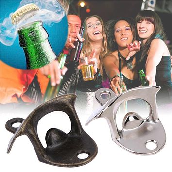 Wall Beer Bottle Opener Stainless Steel Retro Wall-Mounted Bottle Opener Wall Beer Opener The Bar The Kitchen Party Supplies