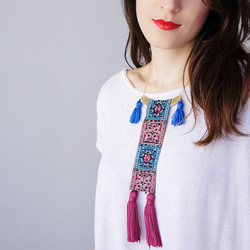 Statement Necklace Statement Jewelry Tassel Necklace Jacquard Ribbon Necklace Women Fashion Women Accessory Ooak Necklace / FORNAZZO
