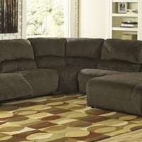 Ashley Furniture 56701-58-77-46-57-97 5 pc toletta collection chocolate colored fabric sectional sofa with recliners and chaise