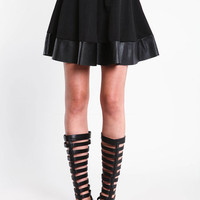 FAUX LEATHER TRIM SKATER SKIRT