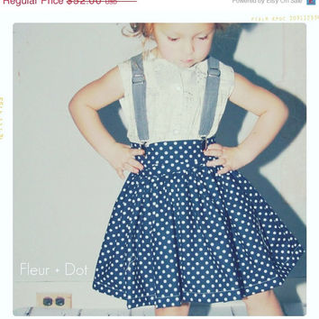 SALE Girl Twirl Skirt: Extra Full Skirt in Navy Blue with White Polka Dots from the Spring Summer Collection by Fleur and Dot