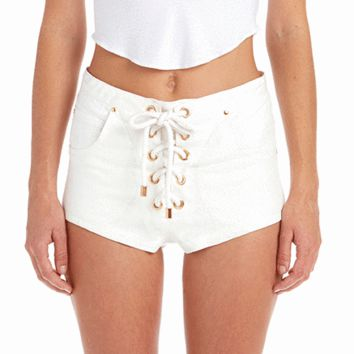High Waisted Lace Up Shorts