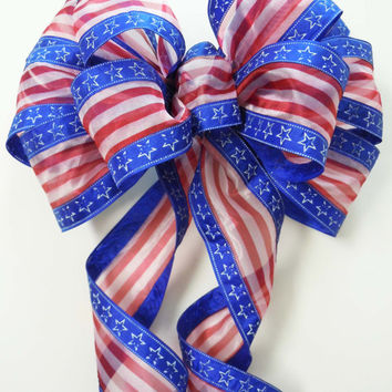 Red White Blue Patriotic Bow July 4th Wreath Bow Fourth of July Bow Independence Veterans Day Bow Party Decoration Bow