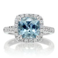 18K Cushion Cut Aquamarine Diamond Halo Lotus Basket Solitaire Gemstone Engagement Anniversary Ring