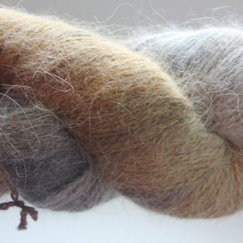 Smoky Angora Rabbit Yarn /Greyish Earth Tone Colours Fleece Artist Peter Rabbit Angora, Fuzzy Yarn, Hand painted yarn, Baby Prop yarn