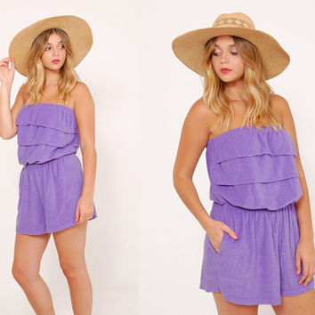 Vintage 80s PURPLE Terry Cloth ROMPER Strapless Beach Cover Up Summer Playsuit JUMPER