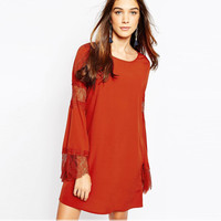 Lace Embroidered Cutout Trumpet Sleeves Shift Dress