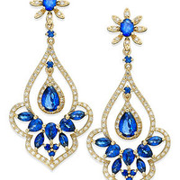 Velvet Bleu by EFFY Manufactured Diffused Sapphire (4 ct. t.w.) and Diamond (5/8 ct. t.w.) Drop Earrings in 14k Gold