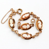 Vintage 12k Rose Gold Filled Cameo Bracelet - 1950s Carved Genuine Shell Cameo Oval Linked Panel Victorian Style Jewelry Hallmarked Atlas