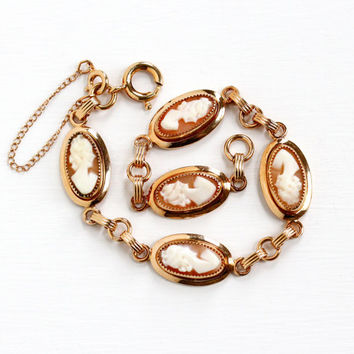 Vintage 12k Rose Gold Filled Cameo Bracelet 1950s Carved Genui