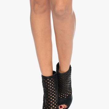 Black Walk of Fame Perforated Peep Toe Heels | $10 | Cheap Trendy Boots Chic Discount Fashion for W