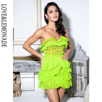 LOVE&LEMONADE Sexy Fluorescent Green Laminated Ruffled Lace Panel Tube Top Party Dress LM81873