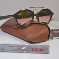 NEW W CASE RAY-BAN MATTE BROWN SUNGLASSES 0RB4257